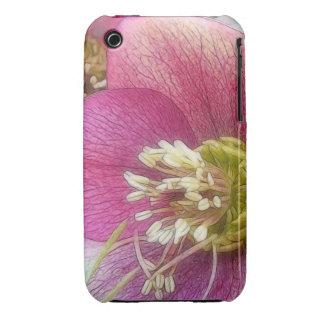 Detalle de una floración púrpura del Hellebore Funda Para iPhone 3
