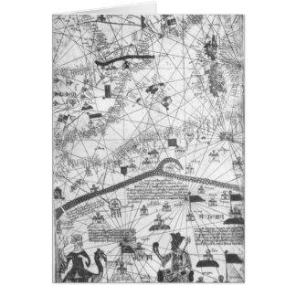 Detalle del atlas catalán, 1375 tarjeta de felicitación