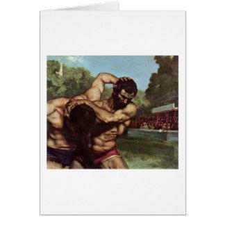 Detalle del luchador de Gustave Courbet Tarjetas