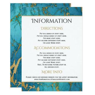 Detalles azules de la información del boda del invitación 11,4 x 15,8 cm