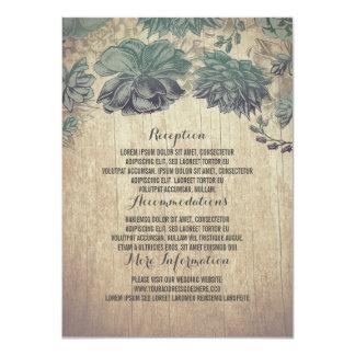 Detalles de madera rústicos del boda de los invitación 11,4 x 15,8 cm