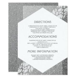 Detalles de plata del boda del brillo - invitación 11,4 x 15,8 cm