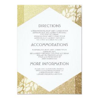 Detalles del boda del brillo del oro - información invitación 11,4 x 15,8 cm