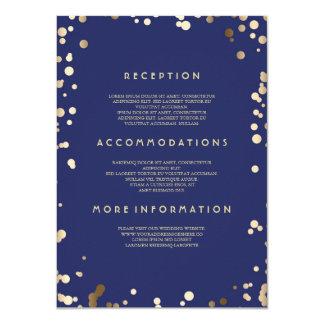 Detalles del boda del confeti del oro - invitación 11,4 x 15,8 cm
