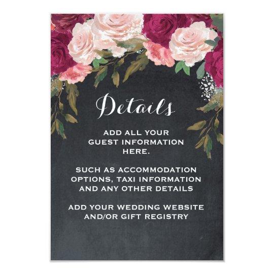 Detalles del boda y rosa Borgoña de la tarjeta de