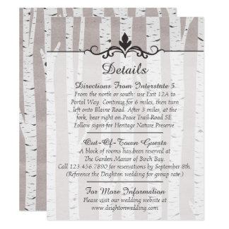 Detalles/direcciones rústicos del boda del árbol invitación 10,8 x 13,9 cm