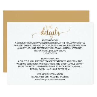 Detalles elegantes simples del boda de la invitación 8,9 x 12,7 cm