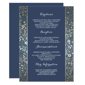 Detalles florales del boda de la marina de guerra invitación 11,4 x 15,8 cm