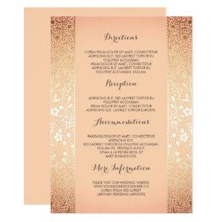 Detalles florales del boda del melocotón del oro - invitación 11,4 x 15,8 cm