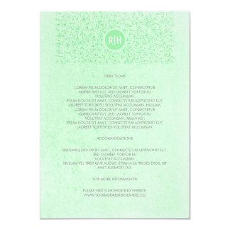 Detalles florales del boda del monograma del invitación 11,4 x 15,8 cm
