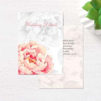 Detalles florales del boda del Peony rosado Tarjeta De Negocios