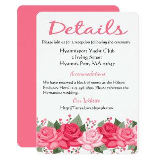 Detalles florales rosados/flores subiós invitación 11,4 x 15,8 cm