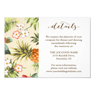 Detalles hawaianos del boda de la piña tropical de invitación 8,9 x 12,7 cm