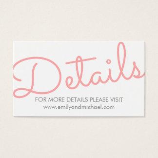 Detalles modernos rosados del boda de la tarjeta de negocios