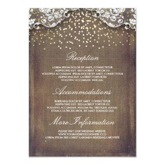 Detalles rústicos del boda del cordón del confeti invitación 11,4 x 15,8 cm