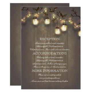 Detalles rústicos del boda del país de las luces invitación 11,4 x 15,8 cm