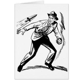 Detective cómico del vintage del kitsch que esquiv tarjeta de felicitación