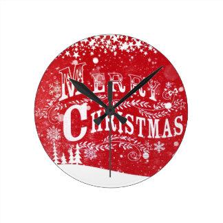 Determinación roja del navidad blanco reloj redondo mediano