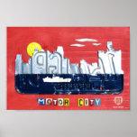 Detroit: El arte de la placa de la ciudad del moto Posters