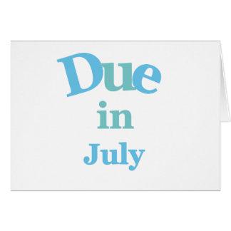 Deuda del azul en julio tarjeta de felicitación