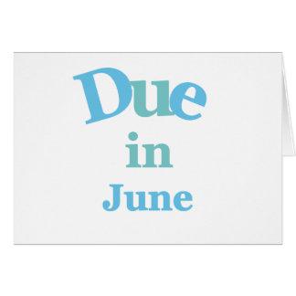 Deuda del azul en junio tarjeta de felicitación