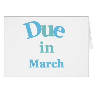 Deuda del azul en marzo tarjeta de felicitación