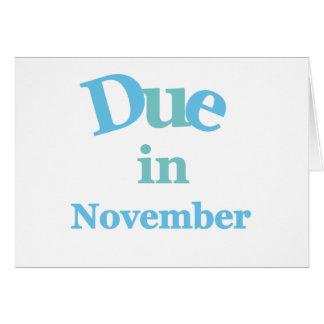 Deuda del azul en noviembre tarjeta de felicitación