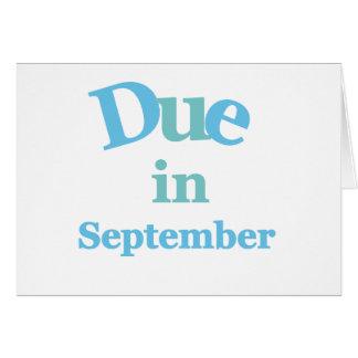 Deuda del azul en septiembre tarjeta de felicitación