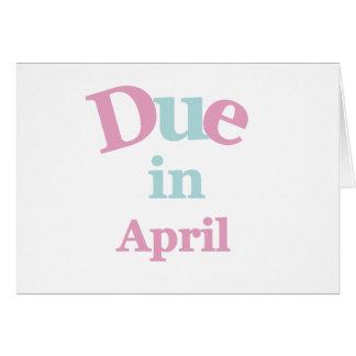 Deuda rosada en abril tarjeta de felicitación