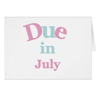 Deuda rosada en julio tarjeta de felicitación