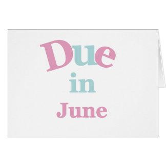 Deuda rosada en junio tarjeta de felicitación