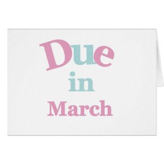 Deuda rosada en marzo tarjeta de felicitación