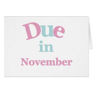 Deuda rosada en noviembre tarjeta de felicitación
