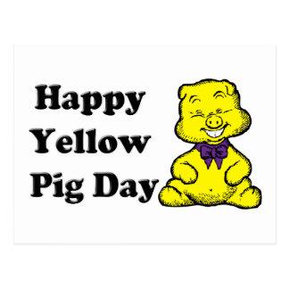 Día amarillo del cerdo postal
