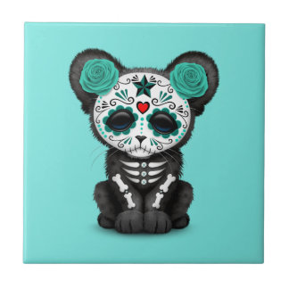 Día azul de la pantera negra muerta Cub Azulejo De Cerámica