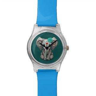 Día azul del elefante muerto del bebé del cráneo reloj de pulsera