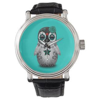 Día azul del pingüino muerto del bebé reloj de pulsera