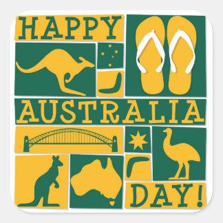 Día de Australia Pegatina Cuadrada