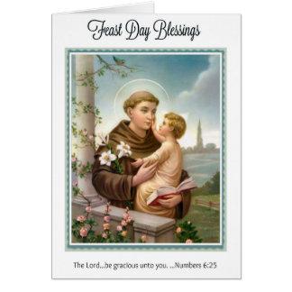 Día de banquete St Anthony de niño Jesús de Padua Tarjeta De Felicitación