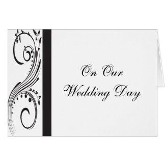Día de boda blanco y negro felicitacion