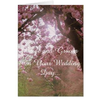 Día de boda rosado del flor tarjeta de felicitación