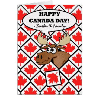 Día de Canadá para Brother y su familia, alce Tarjeta De Felicitación