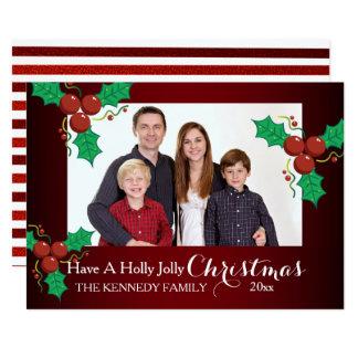 Día de fiesta alegre del navidad del acebo rojo invitación 12,7 x 17,8 cm
