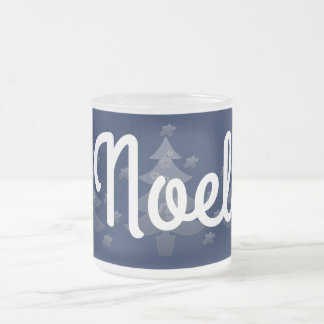 Día de fiesta azul lindo del navidad blanco taza de café esmerilada