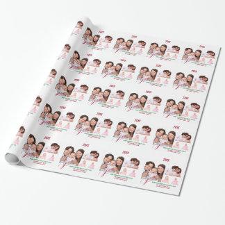 Día de fiesta de 4 fotos personalizado papel de regalo