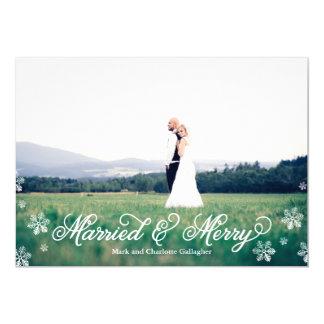 Día de fiesta de corrimiento completo casado y invitación 12,7 x 17,8 cm