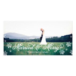 Día de fiesta de corrimiento completo casado y tarjeta personal con foto
