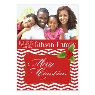 Día de fiesta de la foto de Chevron de las Felices Invitación 12,7 X 17,8 Cm