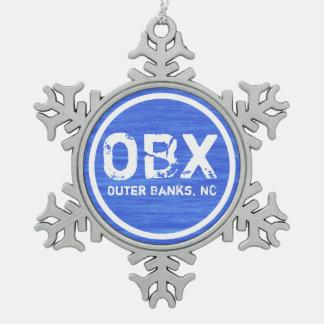 Día de fiesta de la playa de OBX NC Outer Banks Adorno De Peltre Tipo Copo De Nieve
