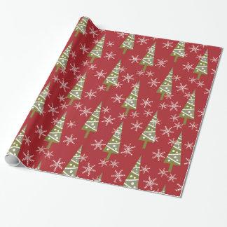 Día de fiesta del árbol de navidad y de los copos papel de regalo